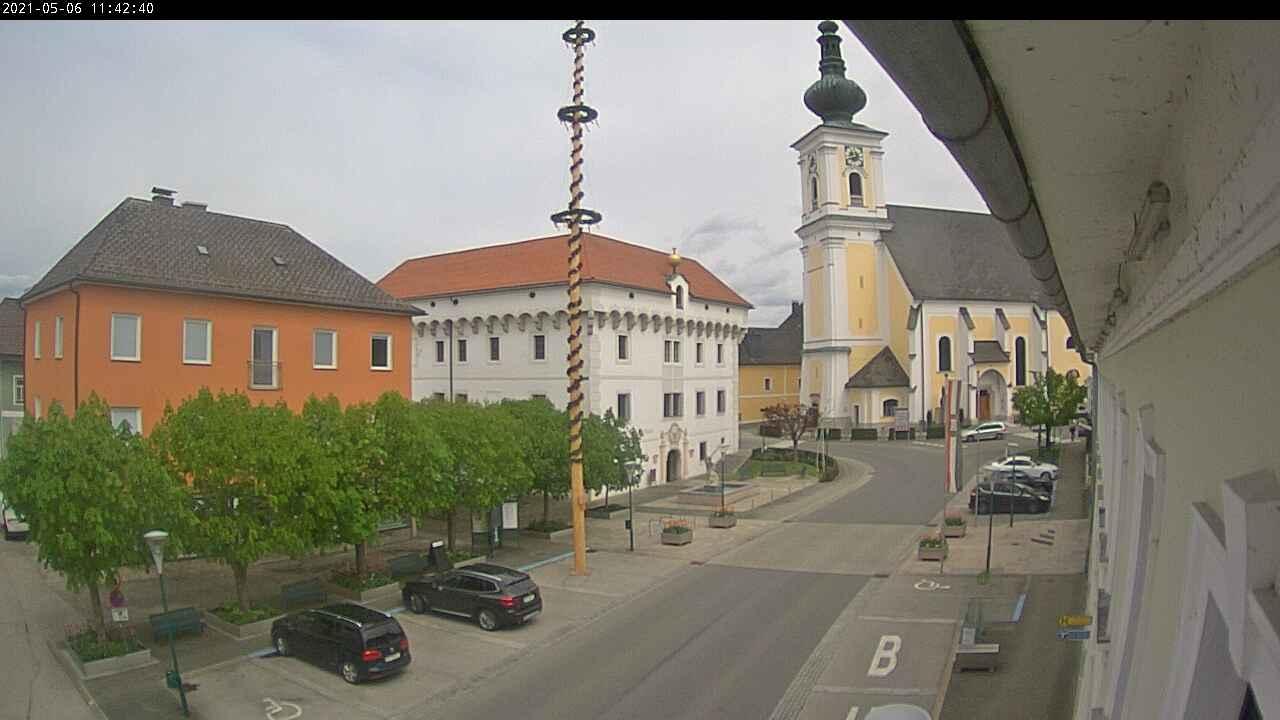 WEBkamera Vorchdorf - náměstí Marktplatz a kostel